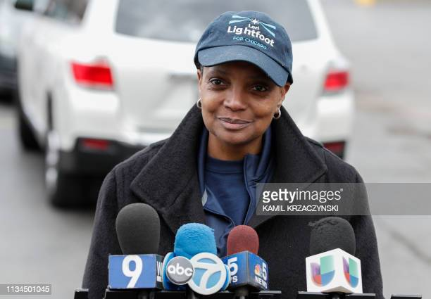Chicago mayoral candidate Lori Lightfoot speaks to the press outside of the polling place at the Saint Richard Catholic Church in Chicago Illinois on...