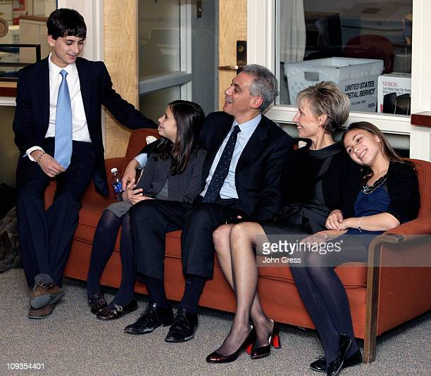 Chicago mayoral candidate Rahm Emanuel and his family his son Zach his daugher Leah his wife Amy Rule and his daughter Ilana watch election night...
