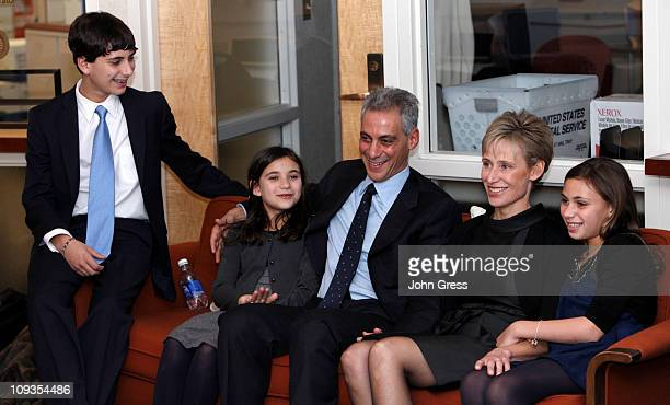 Chicago mayoral candidate Rahm Emanuel his son Zach his daugher Leah his wife Amy Rule and his daughter Ilana watch election results February 22 2011...