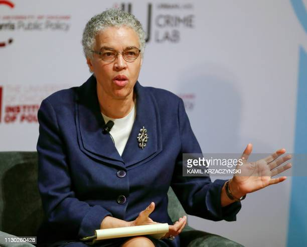 Chicago mayoral candidate Toni Preckwinkle speaks during forum on crime and violence at University of Chicago Institute of Politics Harris School of...