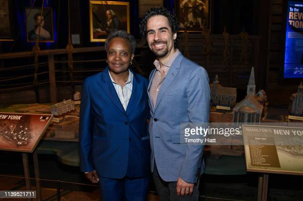 Chicago MayorElect Lori Lightfoot and Alex Lacamoire attend the HAMILTON THE EXHIBITION WORLD PREMIERE at Northerly Island on April 26 2019 in...