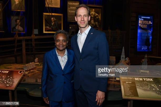 Chicago MayorElect Lori Lightfoot and David Korins attend the HAMILTON THE EXHIBITION WORLD PREMIERE at Northerly Island on April 26 2019 in Chicago...