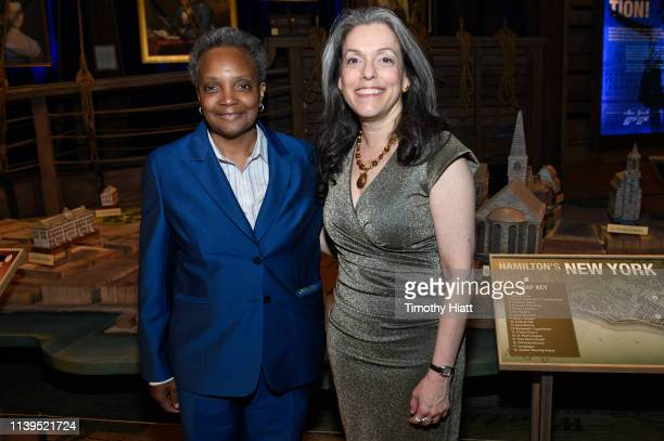 Chicago MayorElect Lori Lightfoot and Joanne Freeman attend the HAMILTON THE EXHIBITION WORLD PREMIERE at Northerly Island on April 26 2019 in...