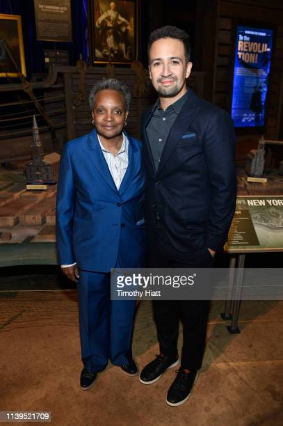 Chicago MayorElect Lori Lightfoot and LinManuel Miranda attend the HAMILTON THE EXHIBITION WORLD PREMIERE at Northerly Island on April 26 2019 in...