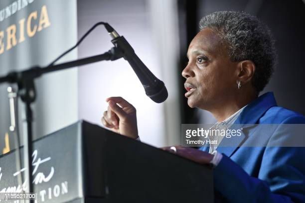 Chicago MayorElect Lori Lightfoot attends the Hamilton The Exhibition world premiere at Northerly Island on April 26 2019 in Chicago Illinois