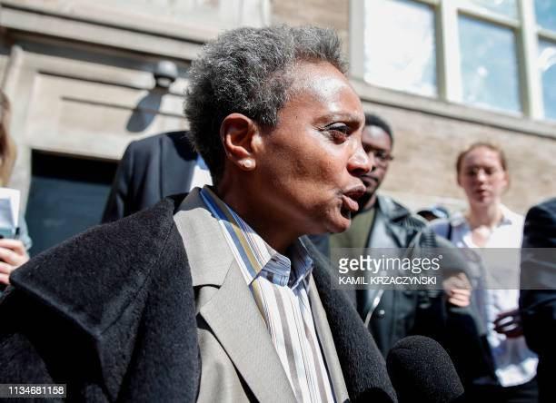 Chicago Mayorelect Lori Lightfoot leaves the Rainbow PUSH Coalition after a unity press conference with mayoral candidate Toni Preckwinkle in Chicago...