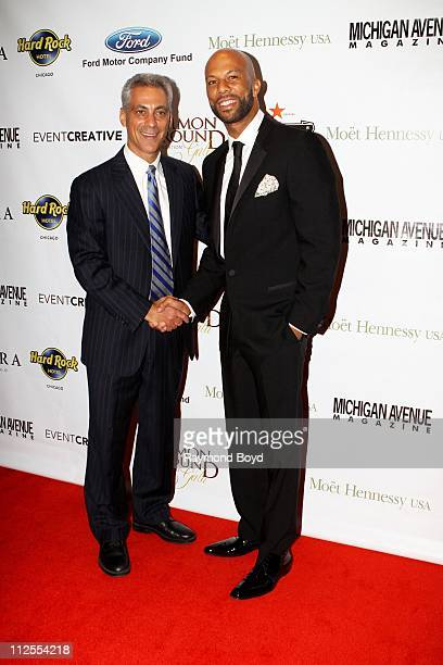 Chicago Mayor-Elect, Rahm Emanuel and rapper and actor Common poses for photos during the 1st Annual Common Ground Foundation Gala at Hotel...