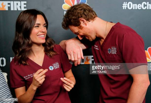 'Chicago Med' cast members Torrey Devitto and Nick Gehlfuss arrive on the red carpet at the 4th Annual OneChicago Press Day in Chicago September 10...