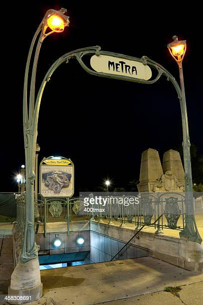 chicago metra station - metra train stock photos and pictures