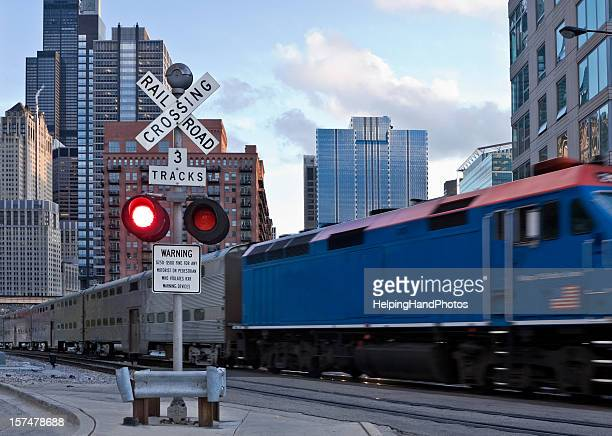 chicago metra train - metra train stock photos and pictures