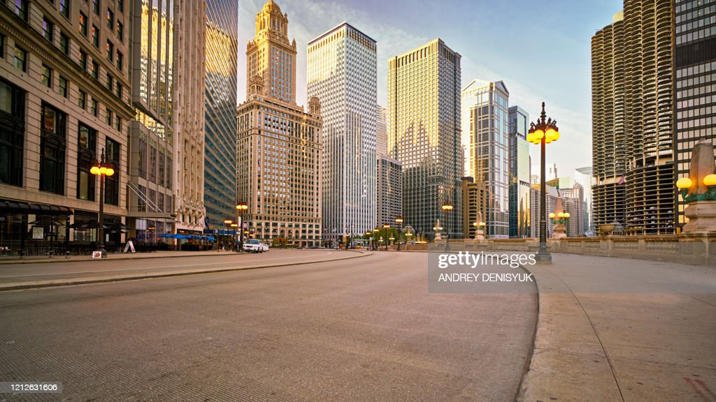 Chicago Morning Street At Center. Hotel. Financial Building : Foto stock