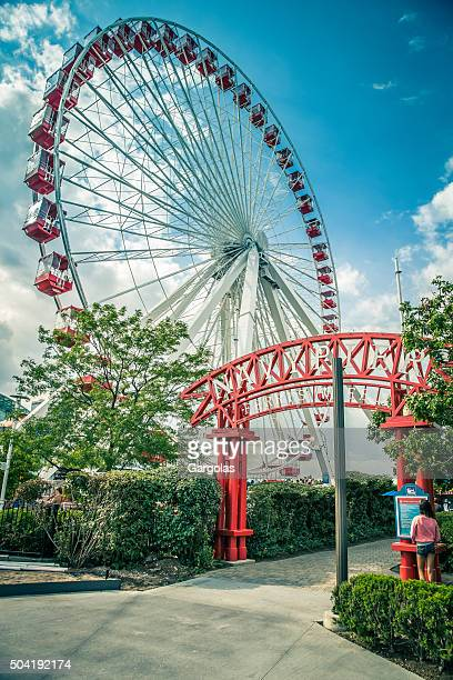 chicago navy pier ferris wheel, illinois, usa - entrance sign stock photos and pictures