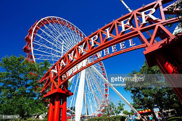 chicago navy pier ferris wheel - navy pier stock pictures, royalty-free photos & images