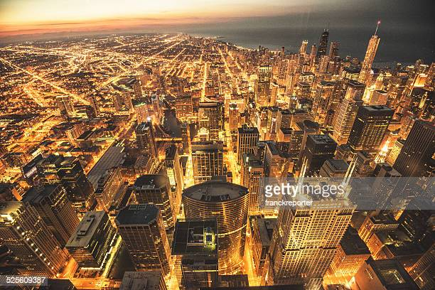 chicago night downtown aerial view - willis tower stock photos and pictures