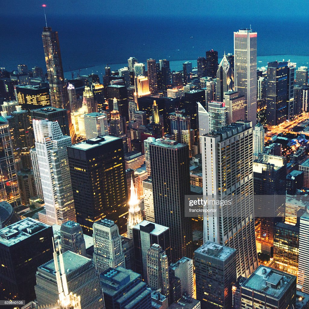 Chicago night downtown aerial view : Stock Photo