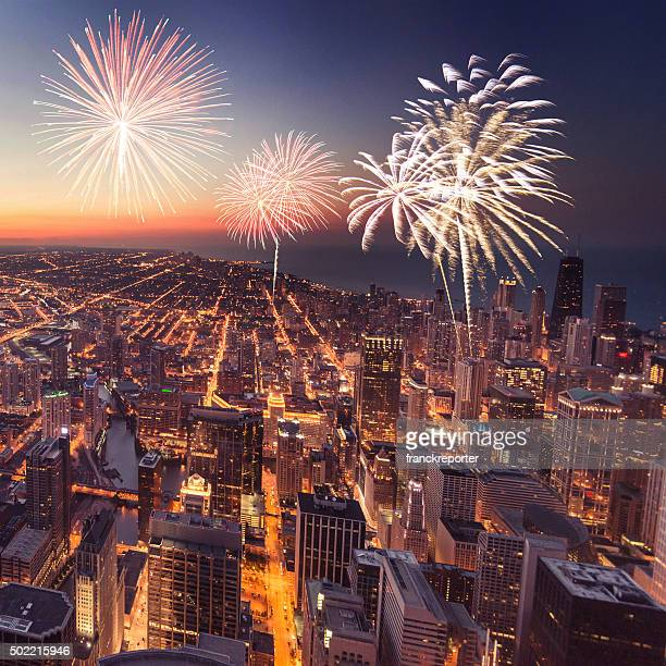 Chicago night downtown aerial view with fireworks
