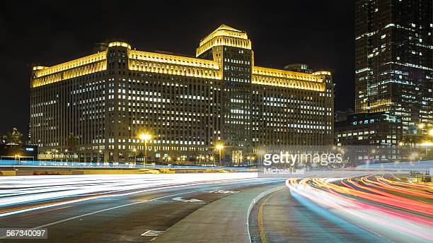 chicago night trails - wacker drive stock photos and pictures