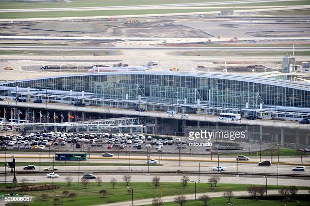 chicago o'hare international airport, aerial view - ohare airport stock pictures, royalty-free photos & images