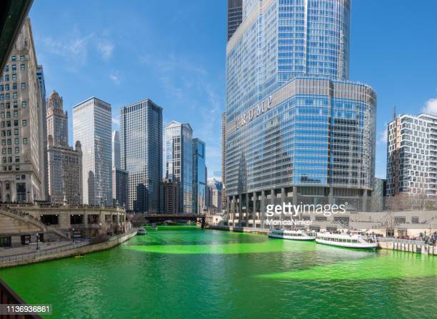 chicago on st. patricks day - trump international hotel & tower chicago stock pictures, royalty-free photos & images