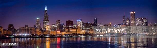 chicago panorama - chicago skyline stock photos and pictures