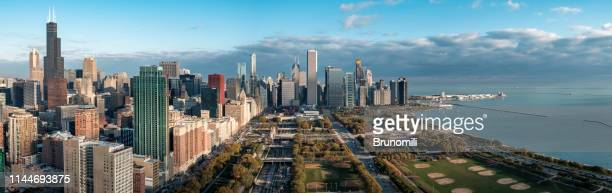 chicago panoramic cityscape - illinois stock pictures, royalty-free photos & images