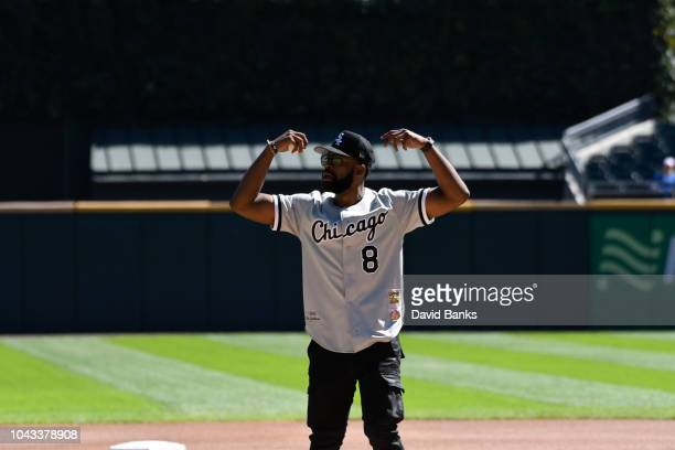 Chicago PD actor LaRoyce Hawkins throws out a ceremonial first pitch before the game between the Chicago White Sox and the Chicago Cubs on September...