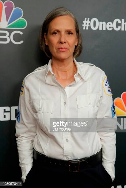 'Chicago PD' cast member Amy Morton arrives on the red carpet for the 4th Annual OneChicago Press Day in Chicago September 10 2018
