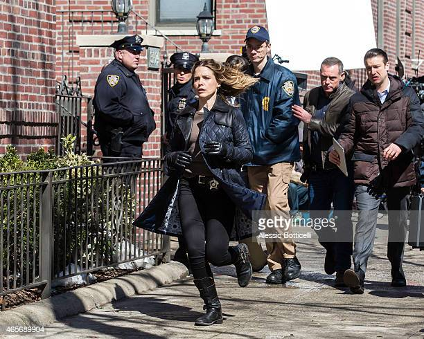 'Chicago PD' cast Sophia Bush and Jason Beghe are seen filming special crossover episode with 'Law Order SVU' Mariska Hargitay on March 9 2015 in New...