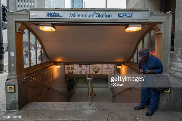 chicago - metra train stock photos and pictures