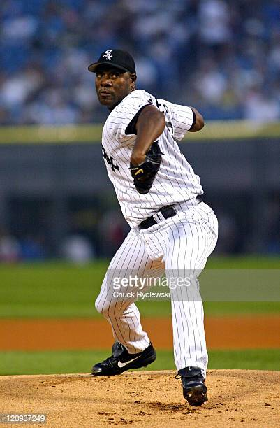 Chicago pitcher Jose Contreras throws 7 2/3 shutout innings as the Kansas City Royals play the the Chicago White Sox at U.S. Cellular Field in...
