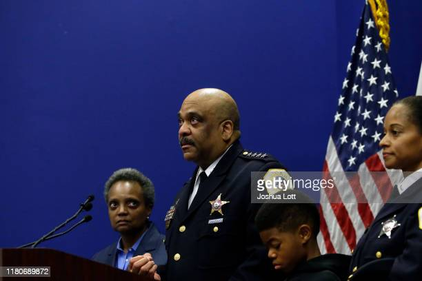 Chicago Police Department Superintendent Eddie Johnson announces his retirement during a news conference with Mayor Lori Lightfoot and members of his...