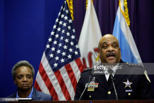 Chicago Police Department Superintendent Eddie Johnson announces his retirement during a news conference with Mayor Lori Lightfoot at the Chicago...