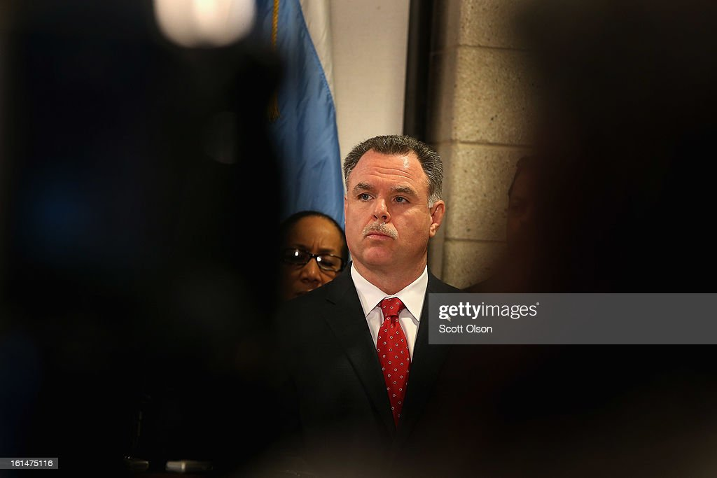 Chicago Police Superintendant Garry McCarthy listens to speakers during a press conference he called with Mayor Rahm Emanuel to promote a plan to increase mandatory minimum sentencing for serious gun crimes in an effort to combat the city's growing gun violence problem on February 11, 2013 in Chicago, Illinois. President Barack Obama is expected to speak about the city's growing gun violence problem during a visit to Chicago on Friday. Last year the city had more than 500 murders.