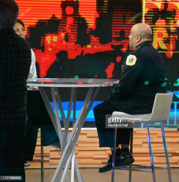 Chicago Police Superintendent Eddie Johnson and Robin Roberts are seen on set of ''Good Morning America'' on February 25 2019 in New York City