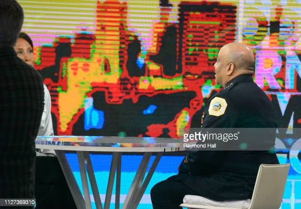 Chicago Police Superintendent Eddie Johnson and Robin Roberts are seen on the set of 'Good Morning America' on February 25 2019 in New York City