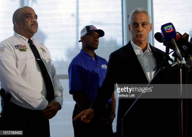 Chicago Police Superintendent Eddie Johnson listens as Chicago Mayor Rahm Emanuel speaks about Chicago's weekend of gun violence during a news...