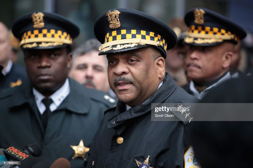 Chicago Police Superintendent Eddie Johnson (C) speaks to the press outside Northwestern Memorial Hospital following the shooting death of Cmdr. Paul Bauer on February 13, 2018 in Chicago, Illinois. Bauer, who was downtown leaving training session, was shot after trying to help stop a man being pursued by tactical officers.