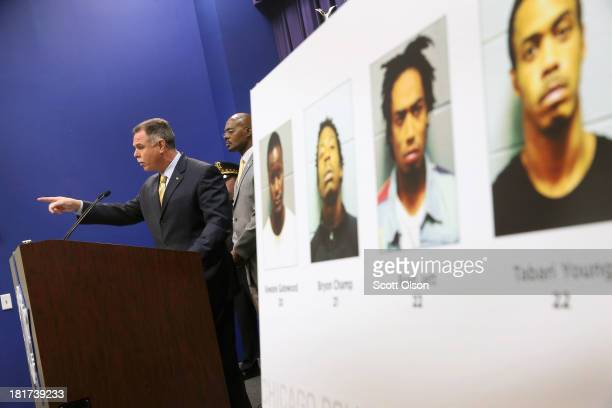 Chicago Police Superintendent Garry McCarthy announces arrests have been made in last Thursday's mass shooting at Cornell Square Park during a press...