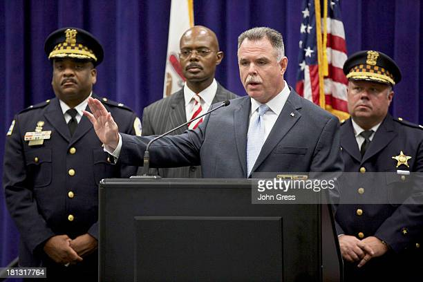 Chicago Police Superintendent Garry McCarthy holds a news conference about a shooting on September 20 2013 in Chicago Illinois Thirteen people...