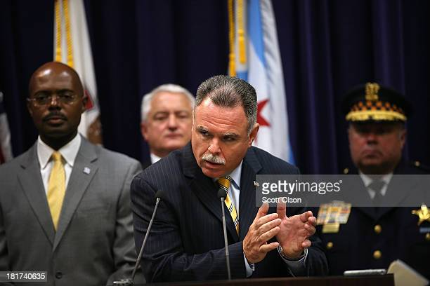 Chicago Police Superintendent Garry McCarthy holds a press conference to announce arrests have been made in last Thursday's mass shooting at Cornell...