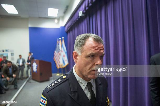Chicago Police Superintendent Garry McCarthy leaves a press conference he and Mayor Rahm Emanuel held to address the arrest of Chicago Police officer...