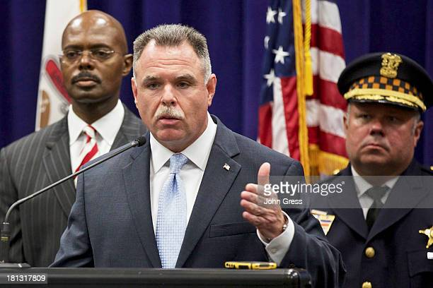 Chicago Police Superintendent Garry McCarthy speaks during a news conference about a shooting on September 20 2013 in Chicago Illinois Thirteen...