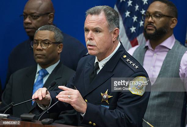Chicago Police Superintendent Garry McCarthy speaks during a press conference he and Mayor Rahm Emanuel held to address the arrest of Chicago Police...