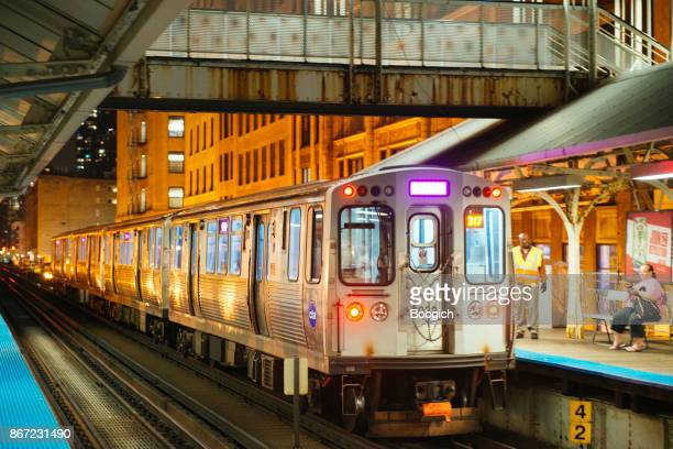 Chicago Public Transportation Elevated Train in Downtown Loop at Night