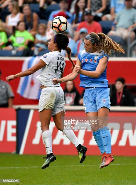 Chicago Red Stars defender Sarah Gorden heads the ball during the match between the FC Kansas City and the Chicago Red Stars on August 20 2017 at...