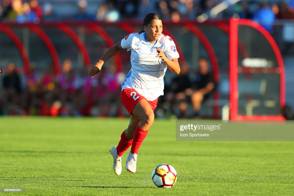 Chicago Red Stars forward Sam Kerr (20) controls the ball during the first half of the National Womens Soccer League game between the Chicago Red Stars and Sky Blue FC on July 7, 2018 at Yurcak Field in Piscataway, NJ.