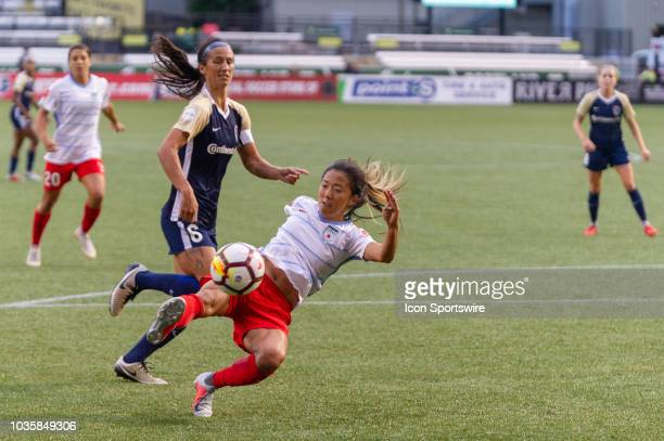 Chicago Red Stars forward Yuki Nagasato hits a volley during the North Carolina Courage 20 victory over Chicago Red Stars in a NWSL playoffs...