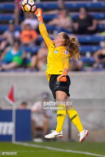 Chicago Red Stars goalkeeper Alyssa Naeher jumps up to make a save against the Portland Thorns FC on June 16 2018 at Toyota Park in Bridgeview...