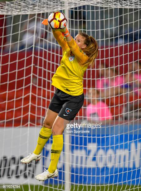 Chicago Red Stars goalkeeper Alyssa Naeher makes a save against the Portland Thorns FC on June 16 2018 at Toyota Park in Bridgeview Illinois