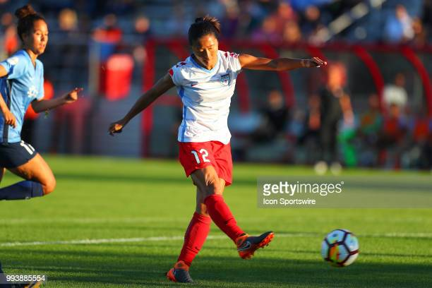 Chicago Red Stars midfielder Yuki Nagasato controls the ball during the first half of the National Womens Soccer League game between the Chicago Red...